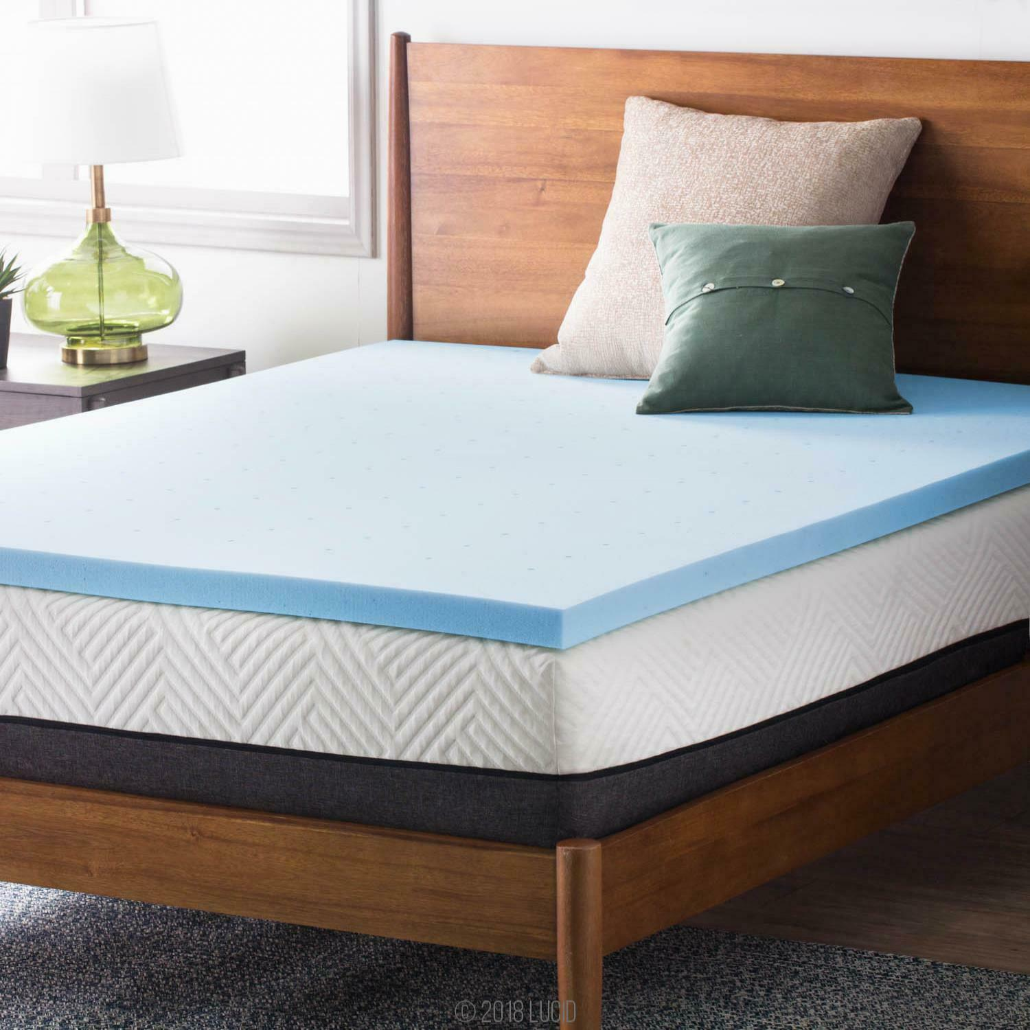 LUCID 2, 3, 4 Inch Cooling Gel Memory Foam Mattress Topper - Full Queen King