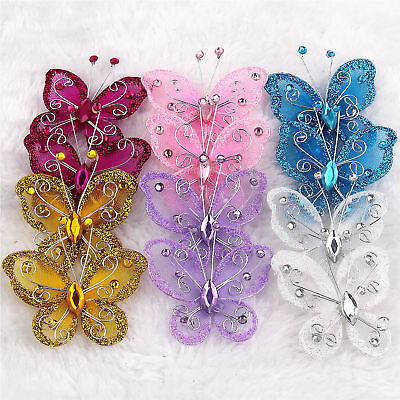wholesale 20Pcs Mix Color Organza Butterfly Craft Wedding Party Decoration 2