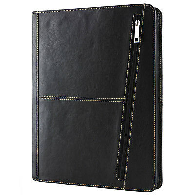 Goatskin Leather Portfolio Organizer Folder Zippered Padfolio Case Card Holder