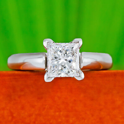 Kay Certified Diamond Solitaire Ring 1-1/2 carats Princess-cut 14K White Gold ct