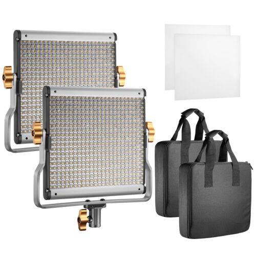 Neewer 2 Packs Studio Video Dimmable Bi-color 480 LED Video Light with U Bracket