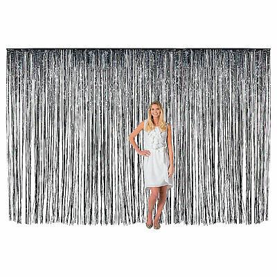 Large Black Metallic Fringe Backdrop Curtain - Party Decor - 1 Piece