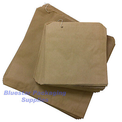 100 x Kraft Brown Paper Food Bags Strung 7