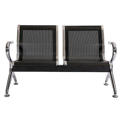 2 Seat Airport Waiting Chair Office Bank Salon Barber Reception Bench Black