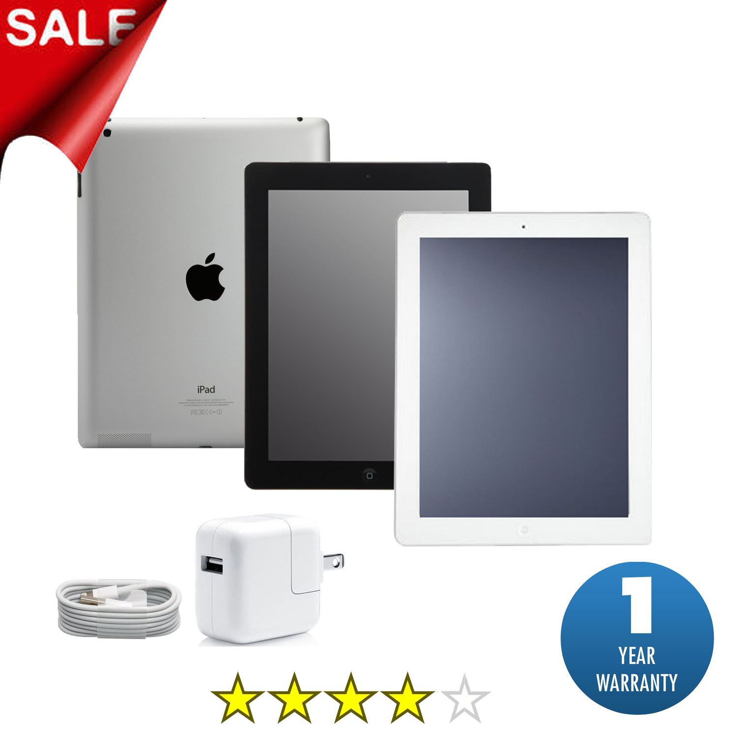 Ipad 2 - Apple iPad 2, 3 or 4 | 16GB, 32GB, 64GB or 128GB | Black or White Wi-Fi Tablet