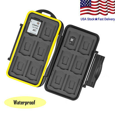 Water Resistant Case Storage Memory Card/SD Card Holder 12 SD+12 Micro SD Cards