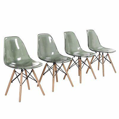 4x Plastik Stuhl Acryl Küchenstühle Wohnzimmerstuhl Transparent Esszimmerstühle