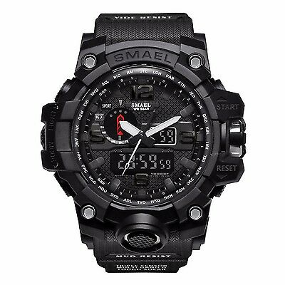 SMAEL Mens Black Digital Sport Waterproof Dual Time Quartz Analog Wrist Watches
