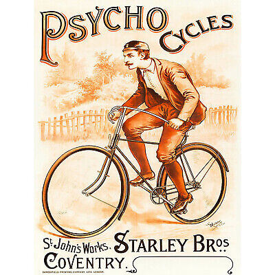 ADVERT TRANSPORT PSYCHO CYCLES COVENTRY UK RETRO VINTAGE POSTER PRINT