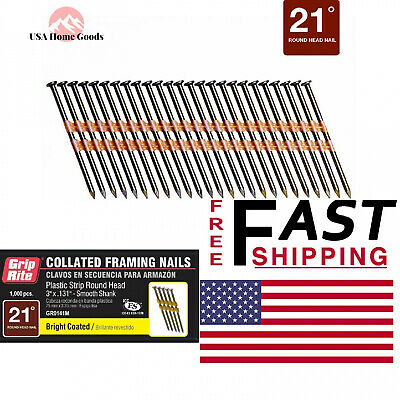Framing Pneumatic Brite Nails Collated Fasteners Wide Head Vinyl Coated 1000pack