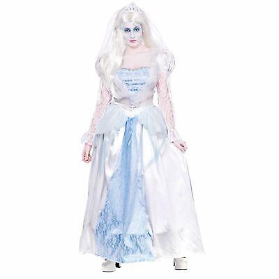 Ladies Blue/White Gorgeous Ghost Bride Halloween Fancy Dress Costume ()
