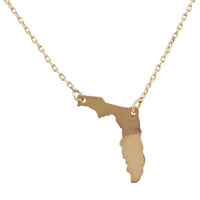 Lux Accessories Gold Tone Florida State Shape Map FL Charm Pendant Necklace