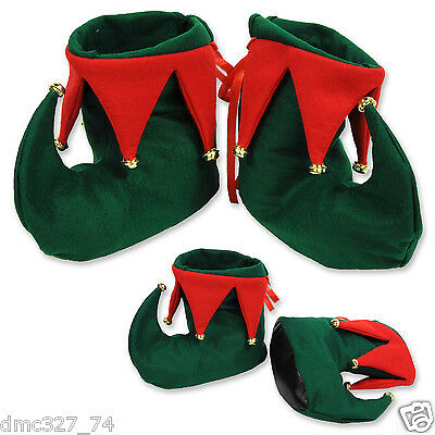CHRISTMAS Party Costume Accessory Santa's Helper ELF BOOTS Shoes w/ Jingle Bells - Santa Costume Boots