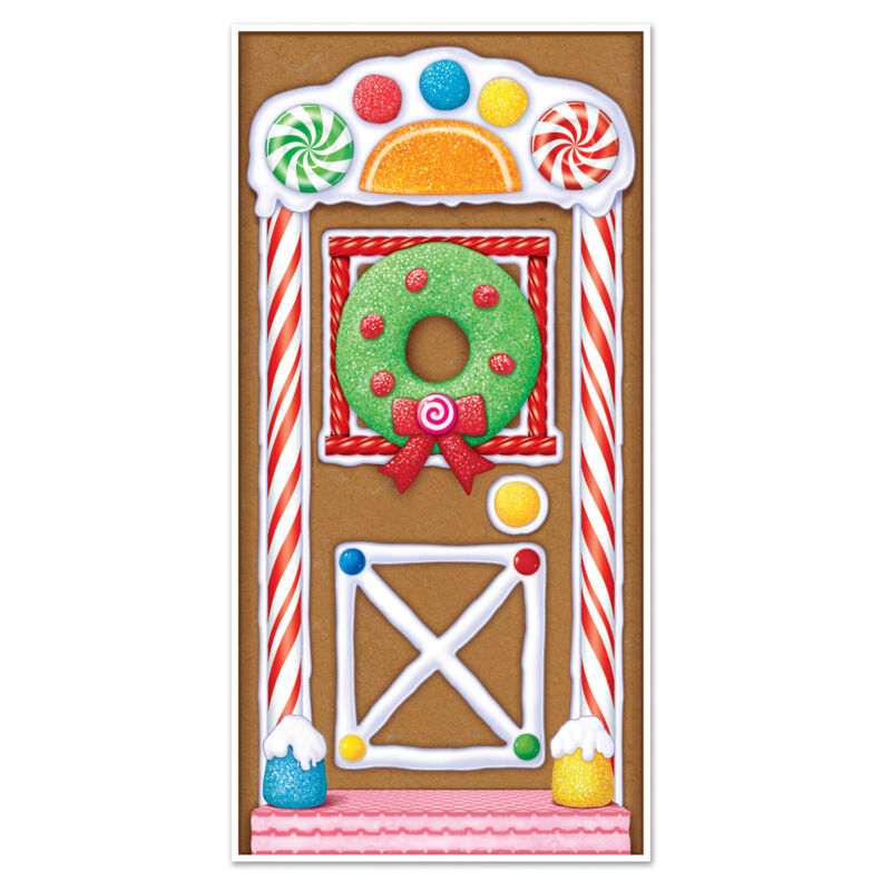 """CHRISTMAS Party Decoration GINGERBREAD HOUSE Door Cover Mural 30"""" x 60"""""""