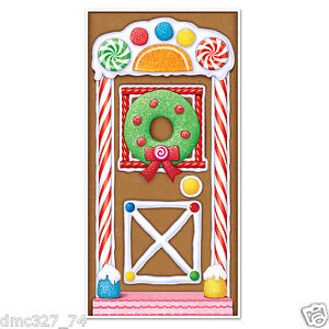 CHRISTMAS Party Decoration GINGERBREAD HOUSE Door Cover Mural 30