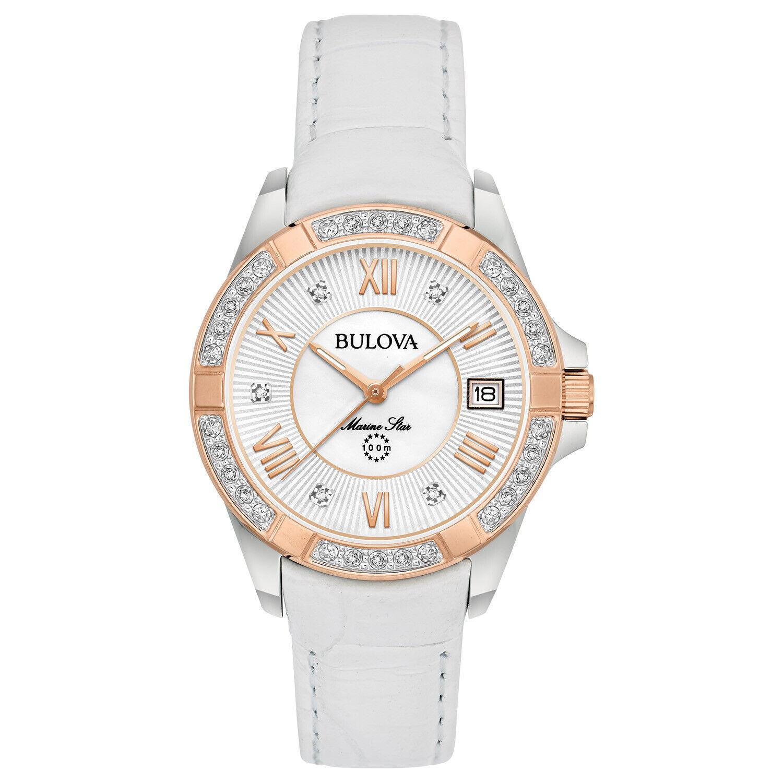 Bulova® Women's Marine Star Diamond White Leather Watch