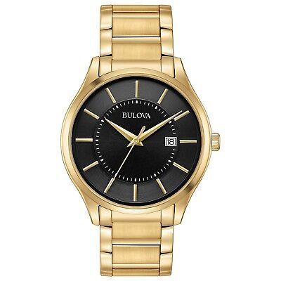 Bulova Men's 97B182 Quartz Black Dial Gold-Tone Bracelet 40mm Watch