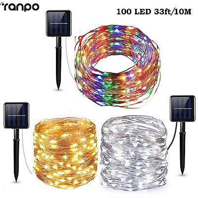 100 LED 10M Solar LED Fairy Light String Party Xmas Home Garden Outdoor Decor SC