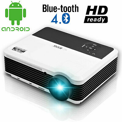 """1080P Smart Blue-tooth Projector HD Wifi 200"""" Display Home Theater Party Night"""