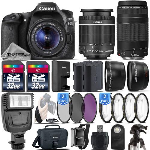 Canon EOS Rebel 80D DSLR Camera + 18-55mm IS STM + 75-300