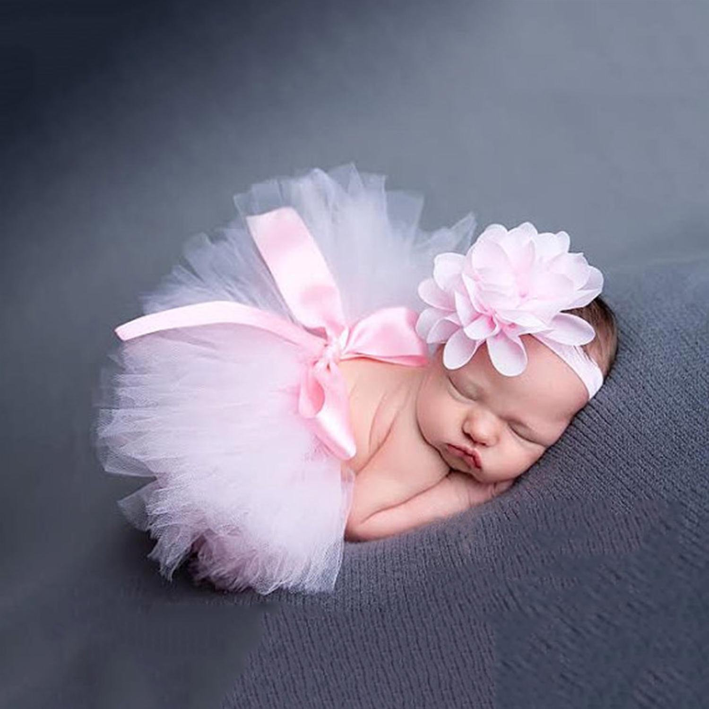Baby Tütü Tüll Rock Stirnband ROSA Kostüm Neugeborenen Foto Shooting Mädchen 56