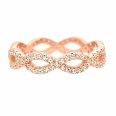 Rose Gold Plated Twisted Cubic Zirconia Eternity .925 Sterling Silver Ring Cubic Zirconia Twist Ring