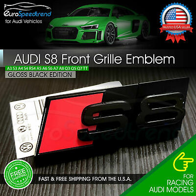 Audi S8 Front Grill Emblem Gloss Black for A8 S8 Hood Grille Badge Nameplate