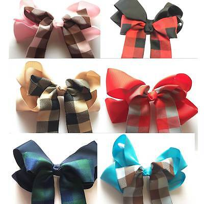 Plaid Bow (7 Inch Plaid Bow Hair Clip pin Alligator Clips 18cm SCHOOL UNIFORM Bows)
