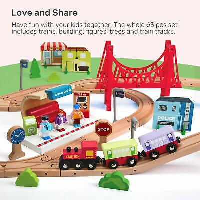 63 Pcs Wooden Train Set for Kids Tracks Set with Magnetic Train Cars best