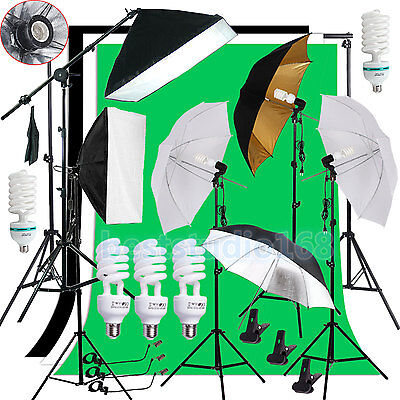 Photog Studio Softbox Backdrop Umbrella Lighting Kit Background Stand Arm Set US