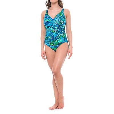 NWT New MIRACLESUIT Oceanus Love it Leaf It Tank One Piece Swimsuit Blue Size -