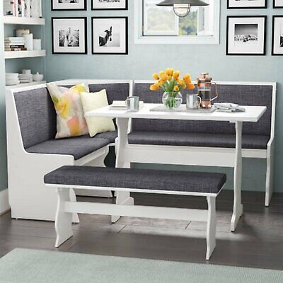 Kitchen Dining Breakfast Nook 3 Pc. Corner Bench Table Gray Padding White Top  Breakfast Nook Dining Table