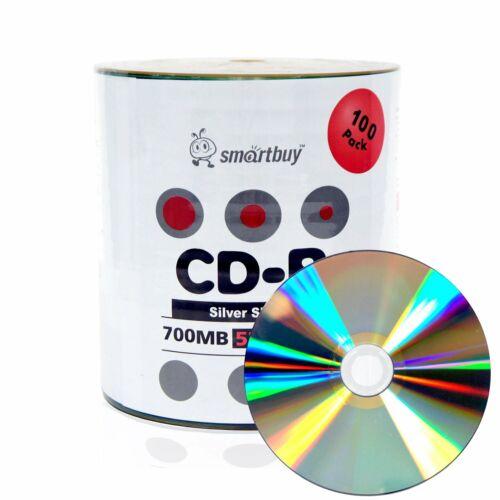 100 Smartbuy CD-R 52X 700MB/80Min Shiny Silver Blank Media Recording Disc