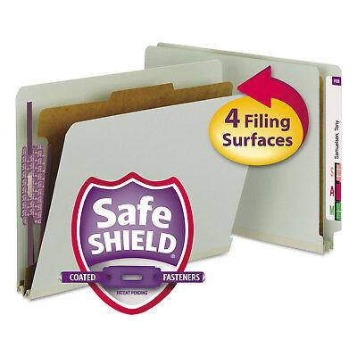 Smead Pressboard End Tab Classification Folder Letter 4-section Graygreen 10