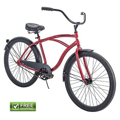 """Red Cruiser Bike 26"""" Men's Huffy Traditional Comfort Commuter City Beach Bicycle"""