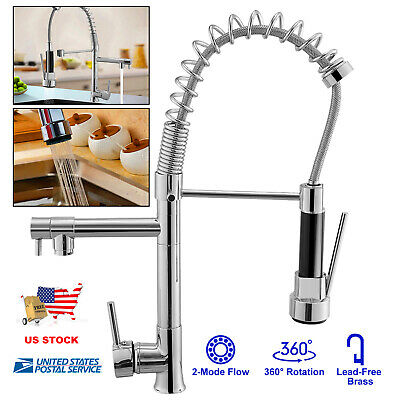 Chrome Kitchen Faucet Swivel Spout Single Handle Sink Pulldown Spray Mixer Tap Chrome Kitchen Mixer Tap