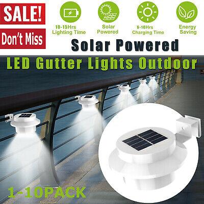 1-10Pack LED Powered Solar Gutter Light Outdoor Lamp Garden/Wall/Fence/Park Best