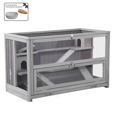 Hamster Cage Guinea Pig Habitat w/ Chewing Toy Seesaws Food Bowl Rat House