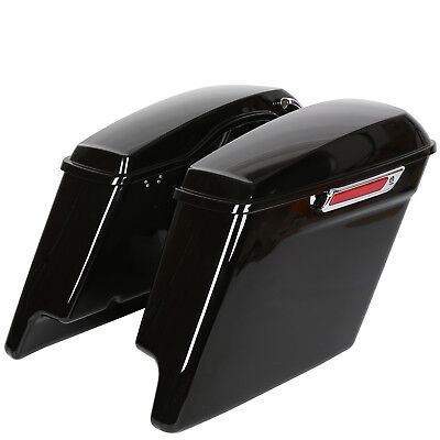 "Complete 5"" Stretched Extended Saddlebags For Harley Touring 14-18 Vivid Black for sale  USA"