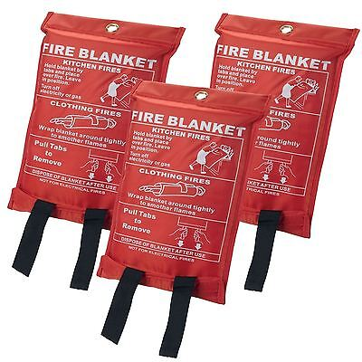 3 x Safety Fire Blanket Large In Case Quick Release Protection Kitchen Home New