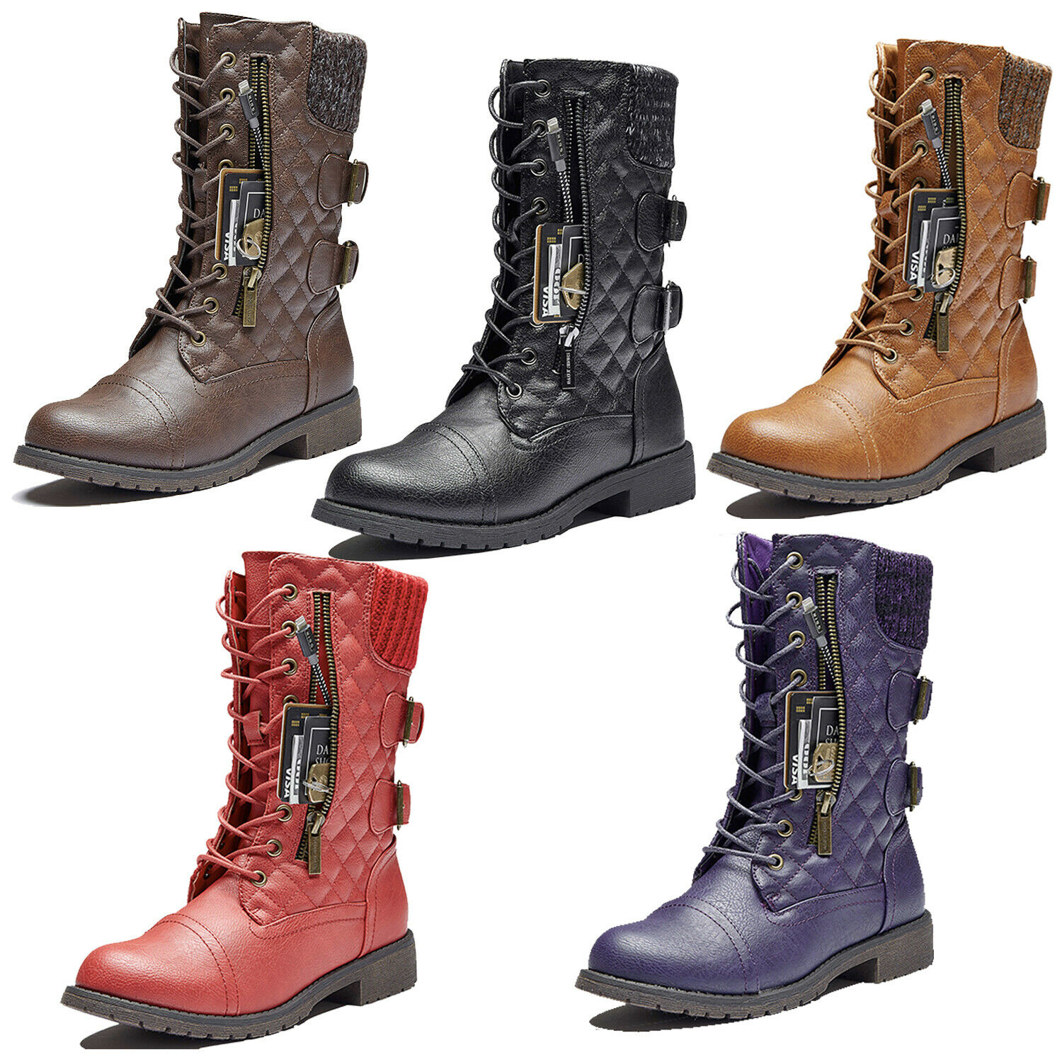 DailyShoes Military Quilted Combat Boots Mid Calf Card Sweat