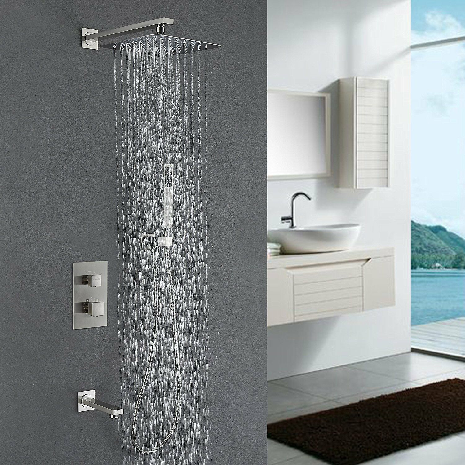 Shower Faucets 2 Dial 1 Way Bathroom Thermostatic Rain Shower Head Set Round Mixer Faucet Tap Shower Valve Panel To Adopt Advanced Technology Back To Search Resultshome Improvement