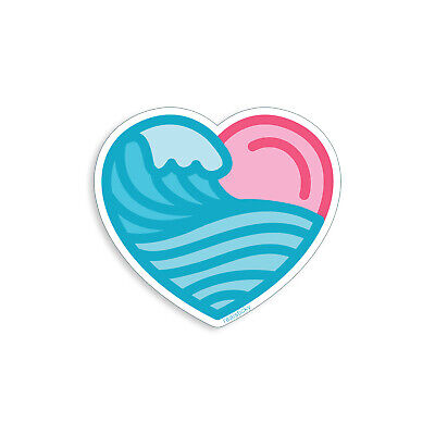 Ocean Blue Cup (Pink Heart Sticker Blue Ocean Wave Sea Beach Love Cup Cooler Car Window Decal  )