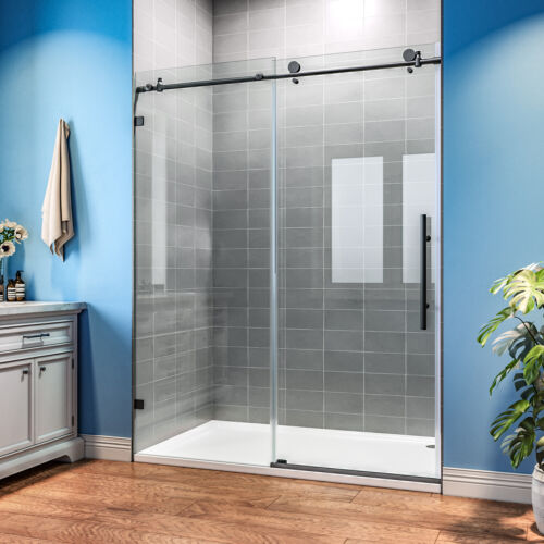 """SUNNY SHOWER 60"""" W x 76"""" H Frameless Sliding Shower Door with 3/8 Glass Black"""