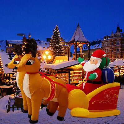 7' Inflatable Christmas Air Blown Santa Claus Double Reindeer LED Yard Decor