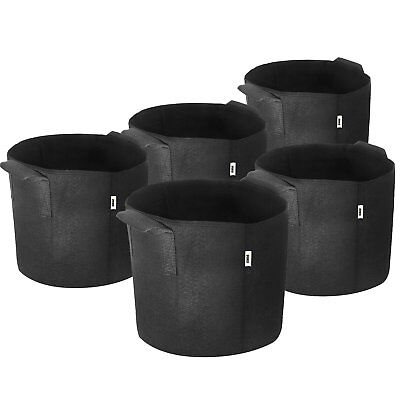 Various Sizes (5 Pack) iPower Grow Bags Fabric Pots Vegetable Garden Tomato Herb