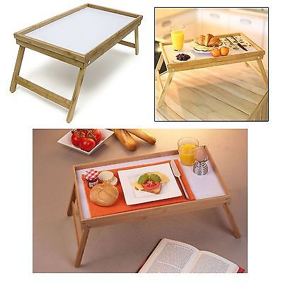 Bamboo Wooden Bed Breakfast Serving Lap Tray With Folding Legs New
