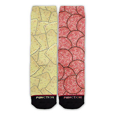 Function - Pepper Jack Cheese and Salami Socks Funny Novelty food meat cracker - Salami Funny