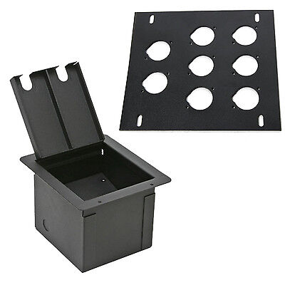 Elite Core Recessed Audio Stage Floor Box with 8 D Holes Punched Plate