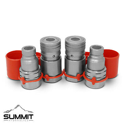 12 Flat Face Hydraulic Quick Connect Couplers Couplings Skidsteer Bobcat 2 Sets